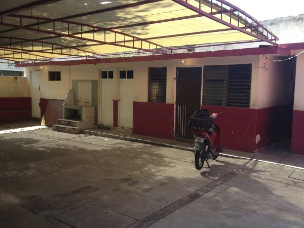 A view of the bathrooms and the cafeteria at Escuela Josefa Ortiz De Domingue in Culican, Sinaloa, Meixco