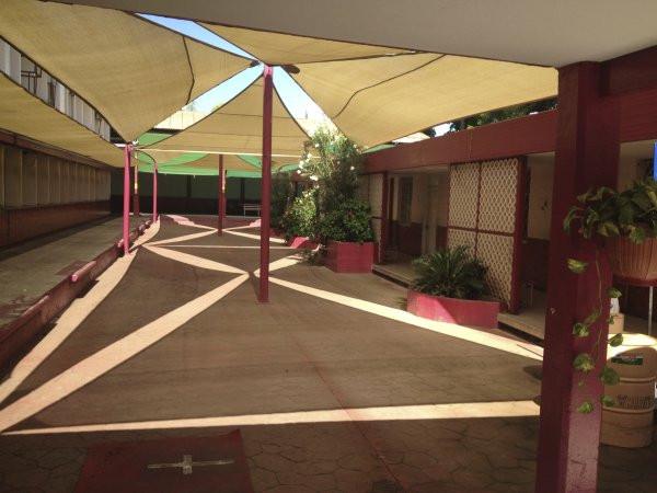 A view of the outside court at Escuela Josefa Ortiz De Domingue in Culican, Sinaloa, Meixco