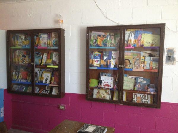 A view of the two book cases in the library at Escuela Josefa Ortiz De Domingue in Culican, Sinaloa, Meixco